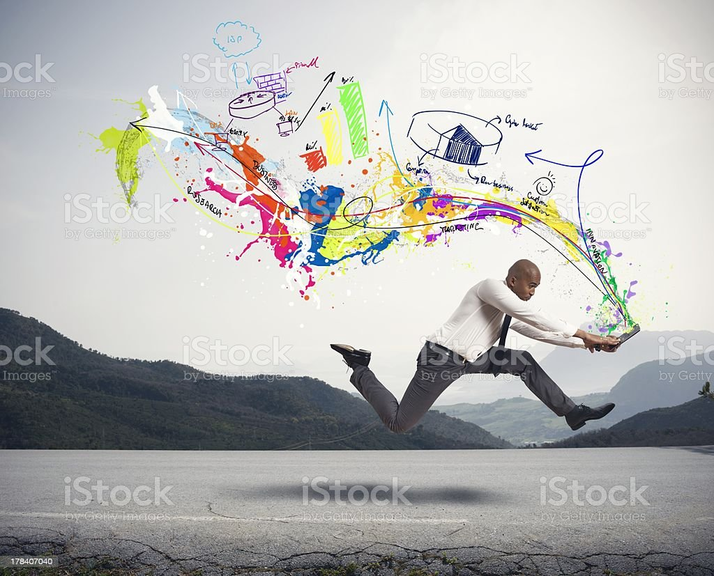 Business concepts from laptop of running man stock photo