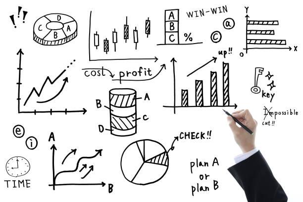 geschäftskonzepte, handschriftliche business chart und geschäftsmann - kreide schriftzüge stock-fotos und bilder