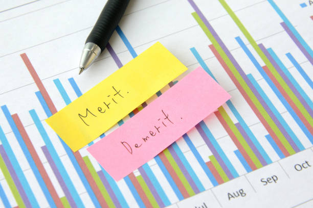 Business concepts, merit and demerit stock photo
