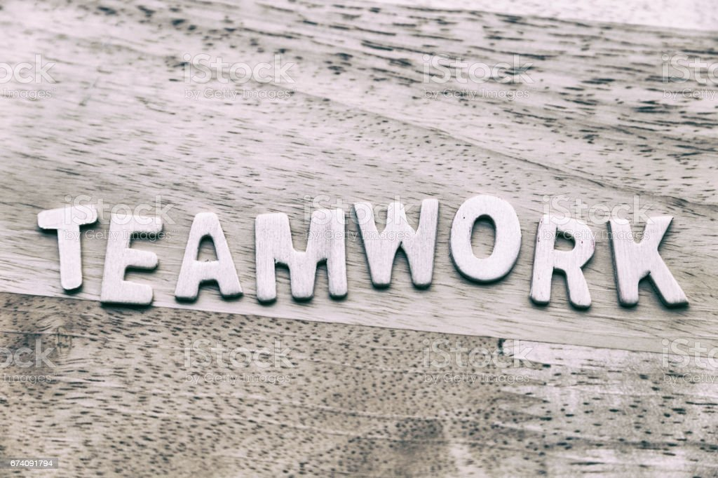 Business conceptual word collected of wooden elements with the letters teamwork royalty-free stock photo