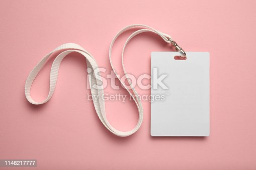 istock Business conference badge on pink background, name tag 1146217777