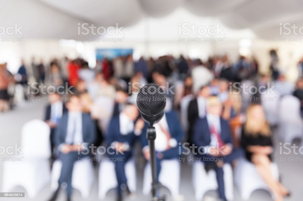 Business conference. Corporate presentation. Microphone. stock photo