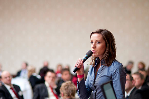 Business conference Indoor business conference for managers. spokesperson stock pictures, royalty-free photos & images