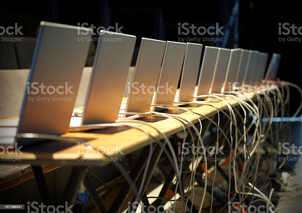 Business conference with laptops royalty-free stock photo