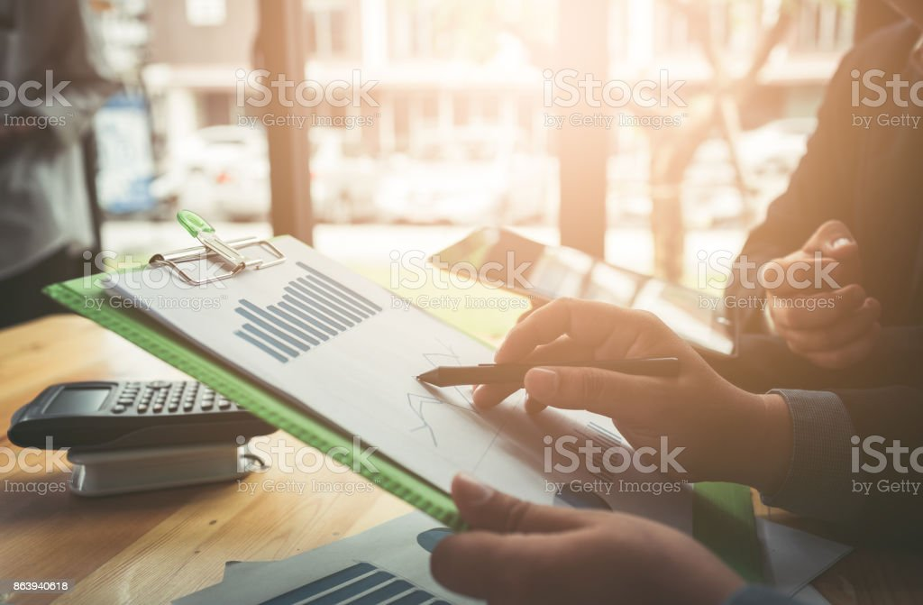 Business conferencing and meetings in the room stock photo