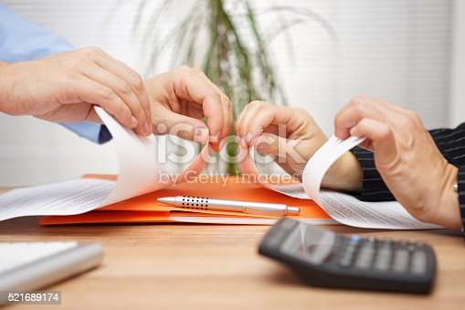 istock Business conflict, on  business meeting manager  and employee destroy document 521689174