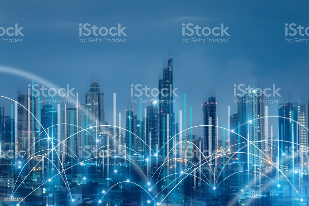 business connection ideas concept with abstract line connection on night city background stock photo