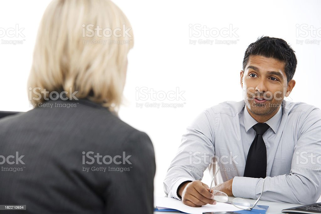 Business Consultation Man with Female Client stock photo