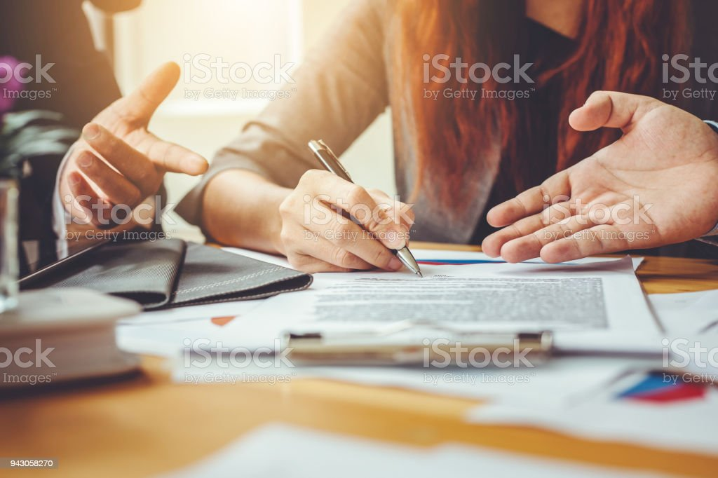 Business contract. agreement was signed co-investment business stock photo