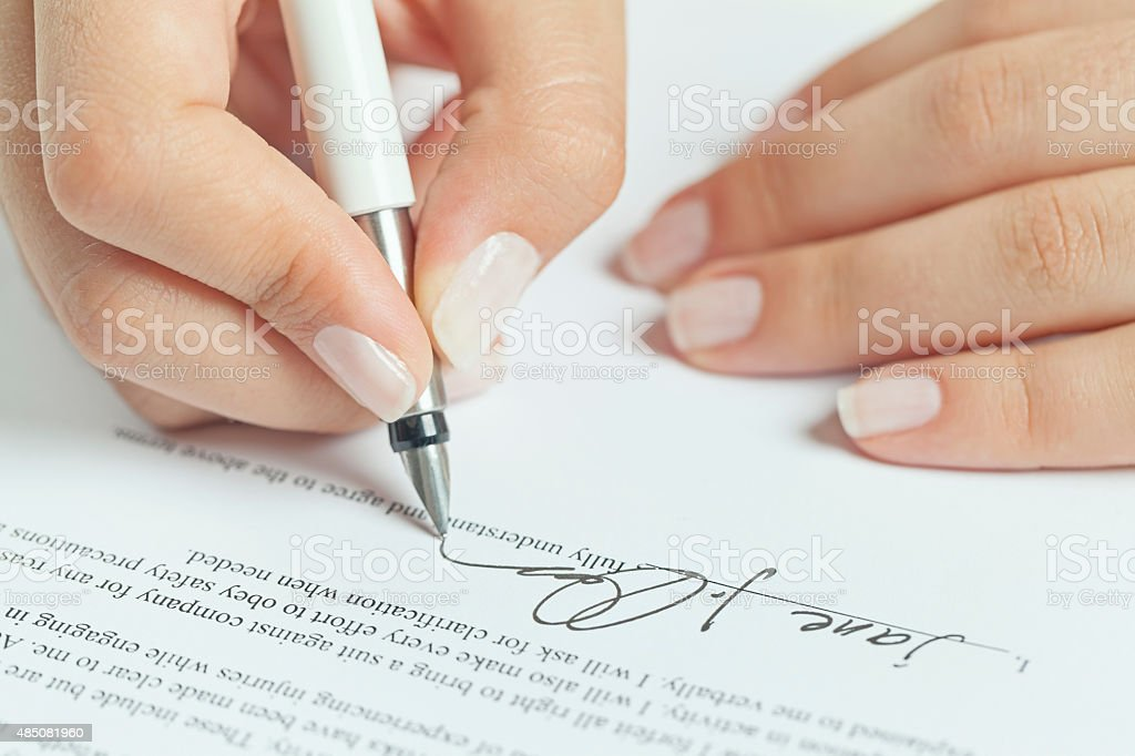 business contract signing stock photo