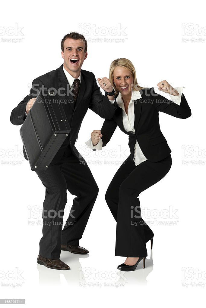 Business couple cheering royalty-free stock photo