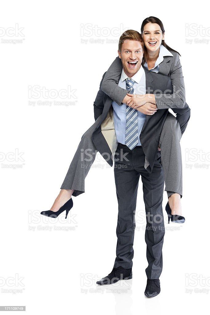 Business couple enjoying themselves on white stock photo