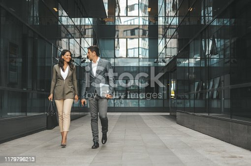Colleagues in front of the office building. Belgrade, Serbia