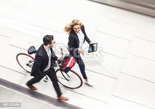 istock Business couple on the street 491132484