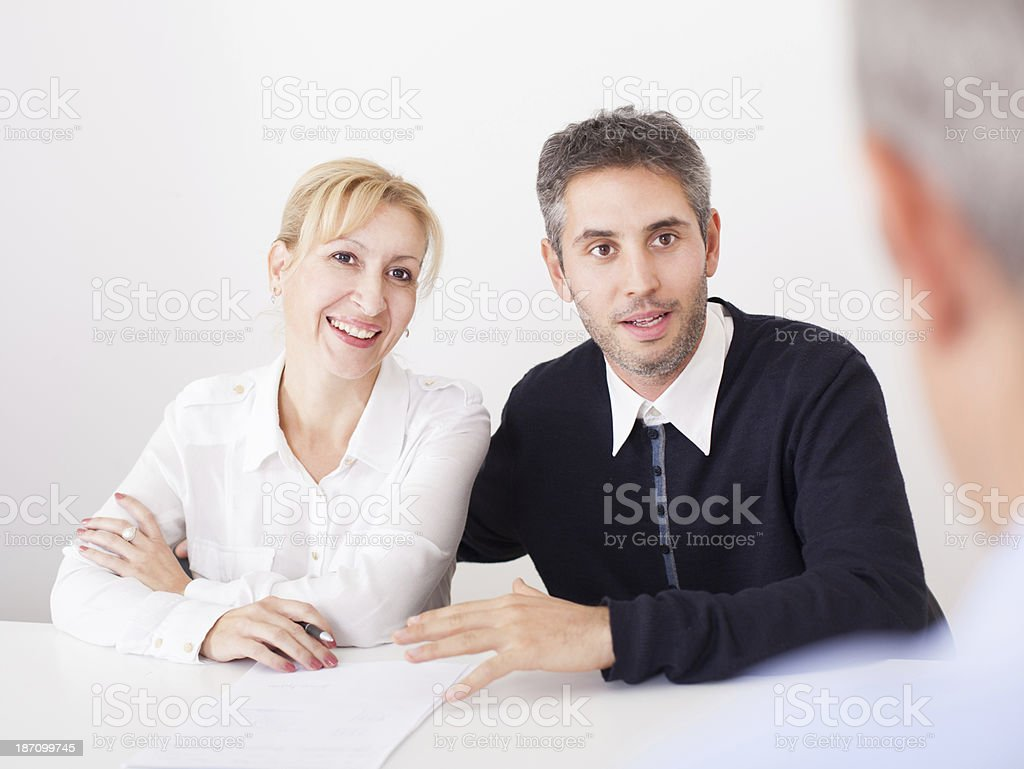 Business couple with counselor royalty-free stock photo