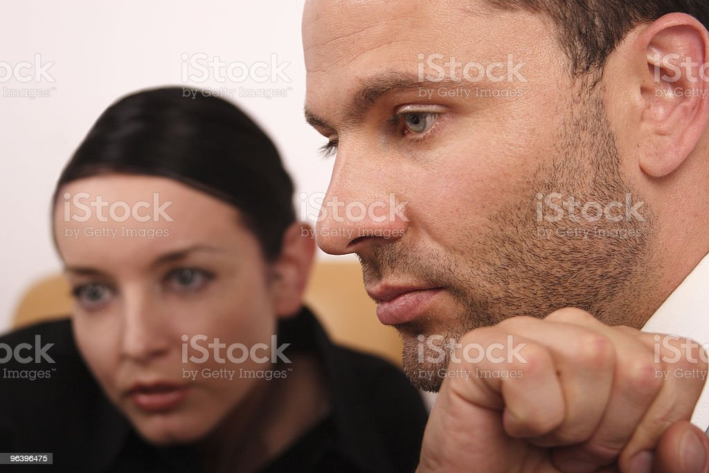 Business couple working together royalty-free stock photo