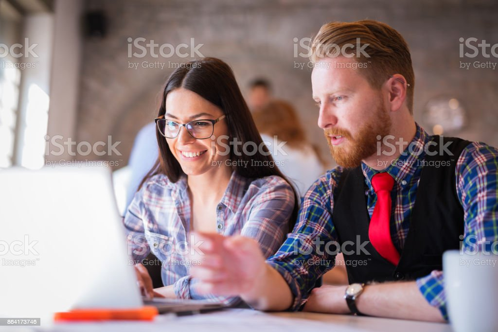 Business coworkers discussing new ideas and brainstorming in office royalty-free stock photo