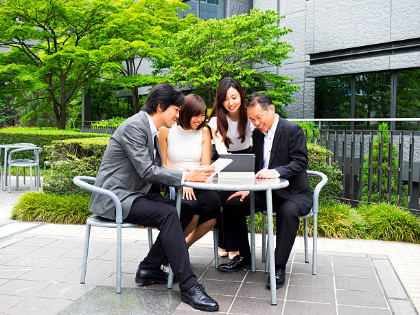 Business Coworkers Meeting Outdoors. stock photo