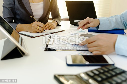 858031152istockphoto Business coworking. young account managers crew working with project.analyze planing. 846381168