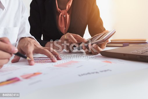 858031152istockphoto Business coworking. young account managers crew working with project. Analyze planing. 846562414