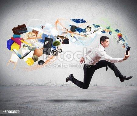 istock Business creativity with running businessman 462990579