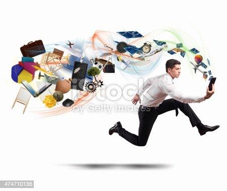 istock Business creativity with running businessman 474710135