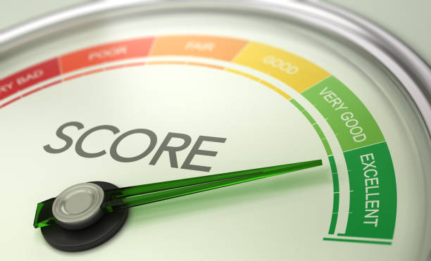 Business Credit Score Gauge Concept, Excellent Grade. 3D illustration of a conceptual gauge with needle pointing to excellent. Business credit score concept. meter instrument of measurement stock pictures, royalty-free photos & images