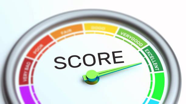 business credit score gauge concept, uitstekende kwaliteit. - scoren stockfoto's en -beelden