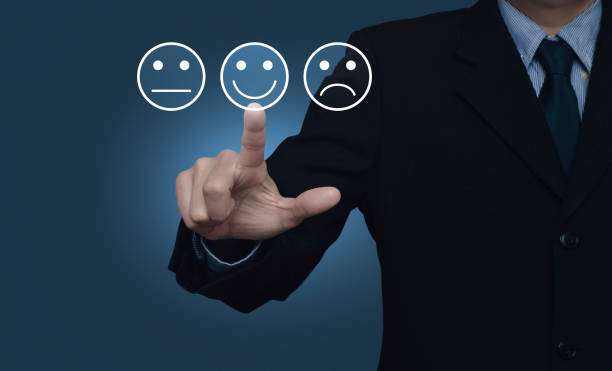 Business customer service evaluation and feedback rating concept stock photo