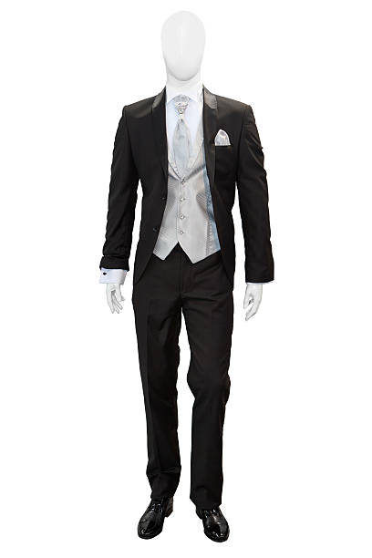 Business dark grey suite Business dark grey suite on mannequin isolated on white retail equipment stock pictures, royalty-free photos & images