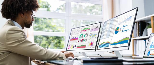 Business Data Analyst Using Computer. African American Advisor