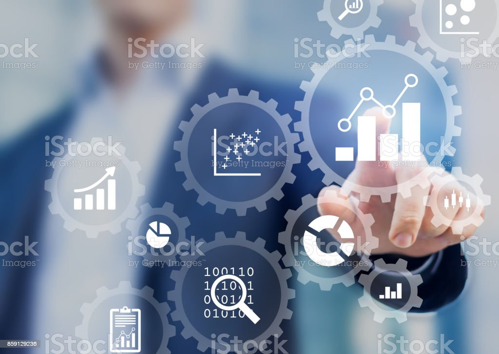 Business data analytics process management with consultant touching connected charts stock photo