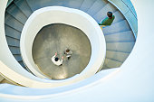 New white metal spiral stairs.