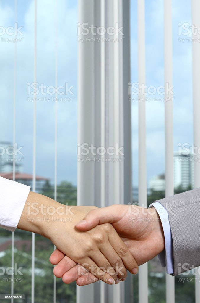 Business deal handshake between a man and a woman royalty-free stock photo