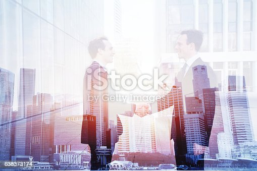 business deal, handshake double exposure, cooperation concept, agreement of two companies
