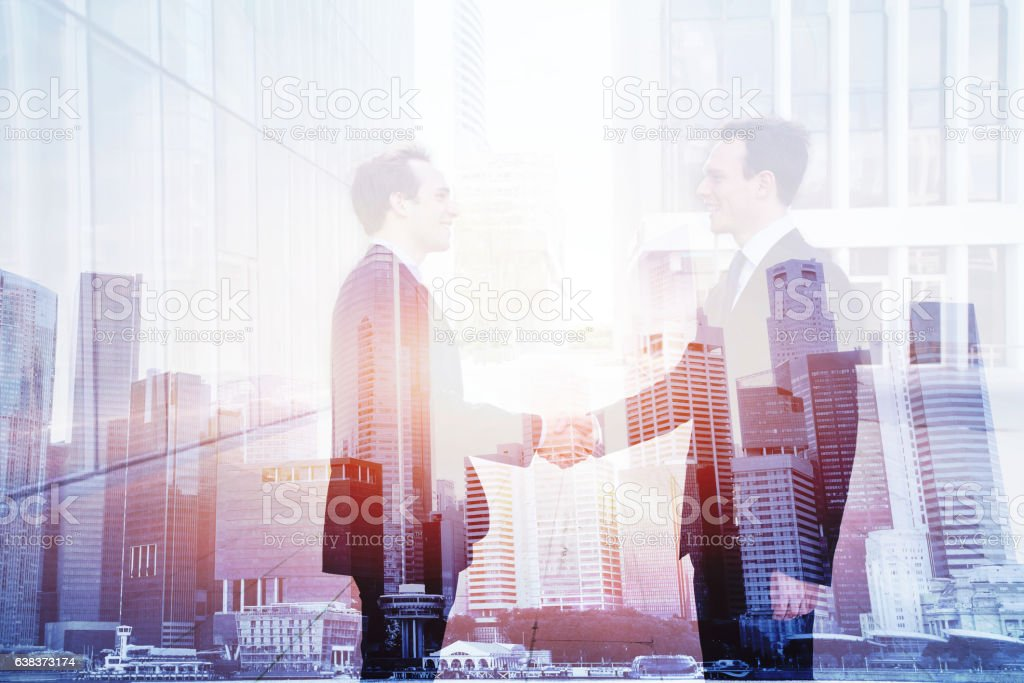 business deal, handshake double exposure, cooperation concept stock photo