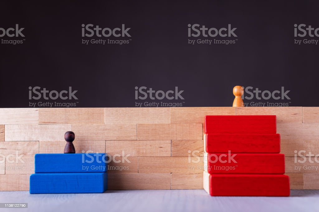 Business decision career path choice or strategy. Concept of inequal career opportunities. Business decision career path choice or strategy. Concept of unequal career opportunities. Career growth concept. Success ladder concept. Achievement Stock Photo