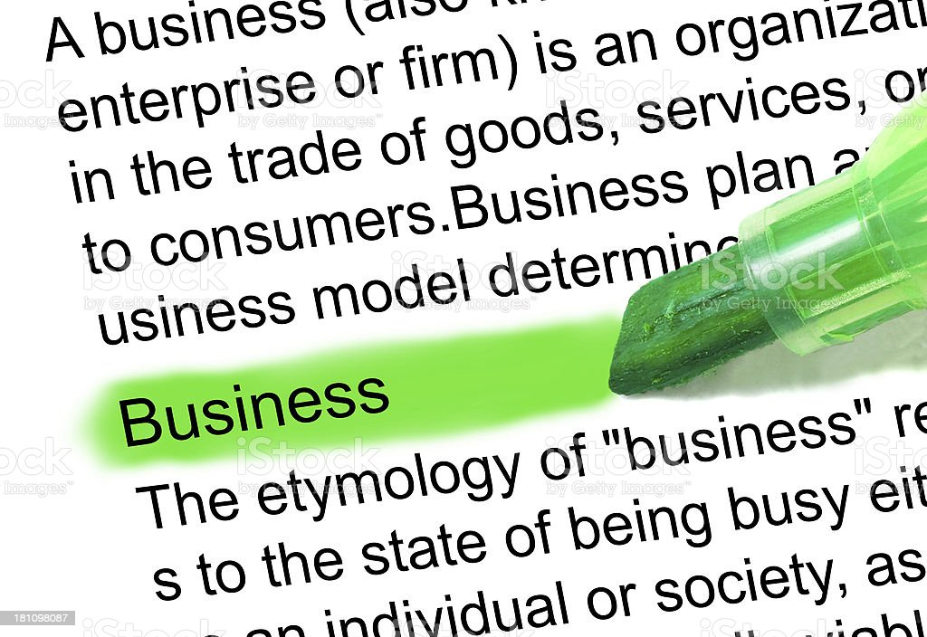 business definition highlighted in dictionary stock photo