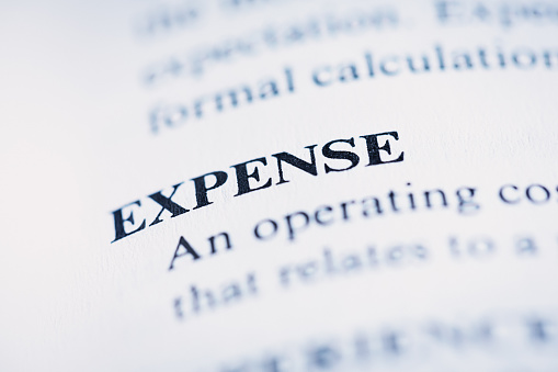 In a book of business terms, the word 'expense'  is defined as it applies to corporate affairs.