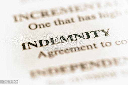 In a list of business terms, 'Indemnity' is defined.