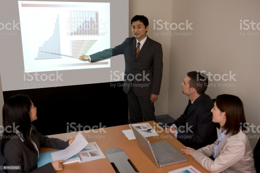Business described in the chart on the screen royalty-free stock photo
