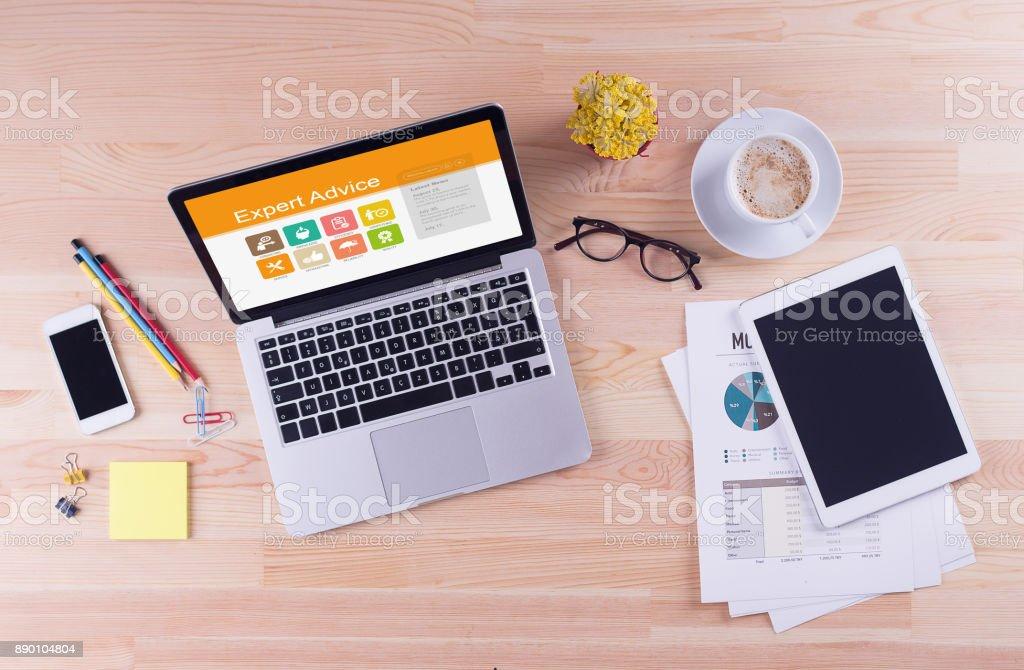 Business desk concept - Expert Advice stock photo