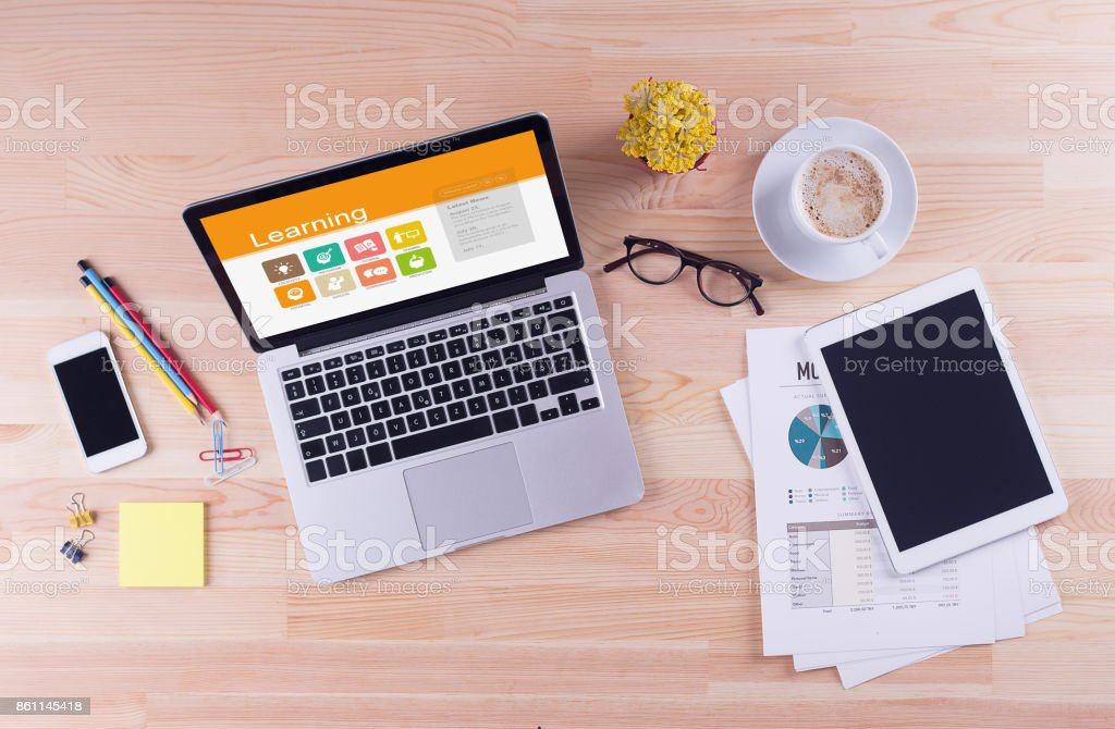 Business desk concept - Learning stock photo