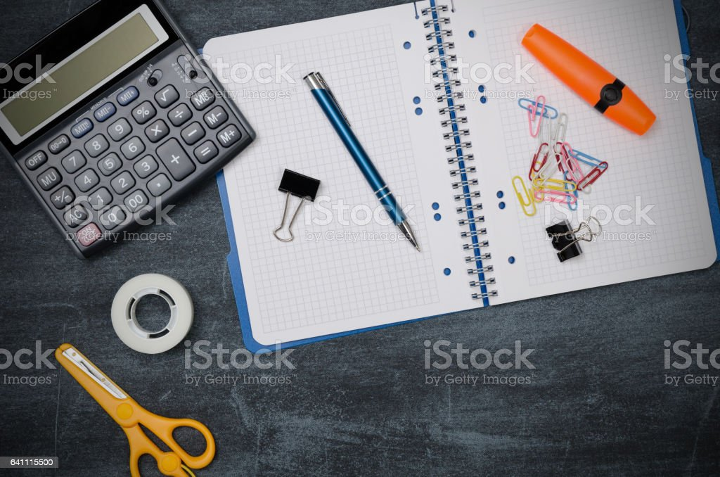 Business desk in office top view stock photo