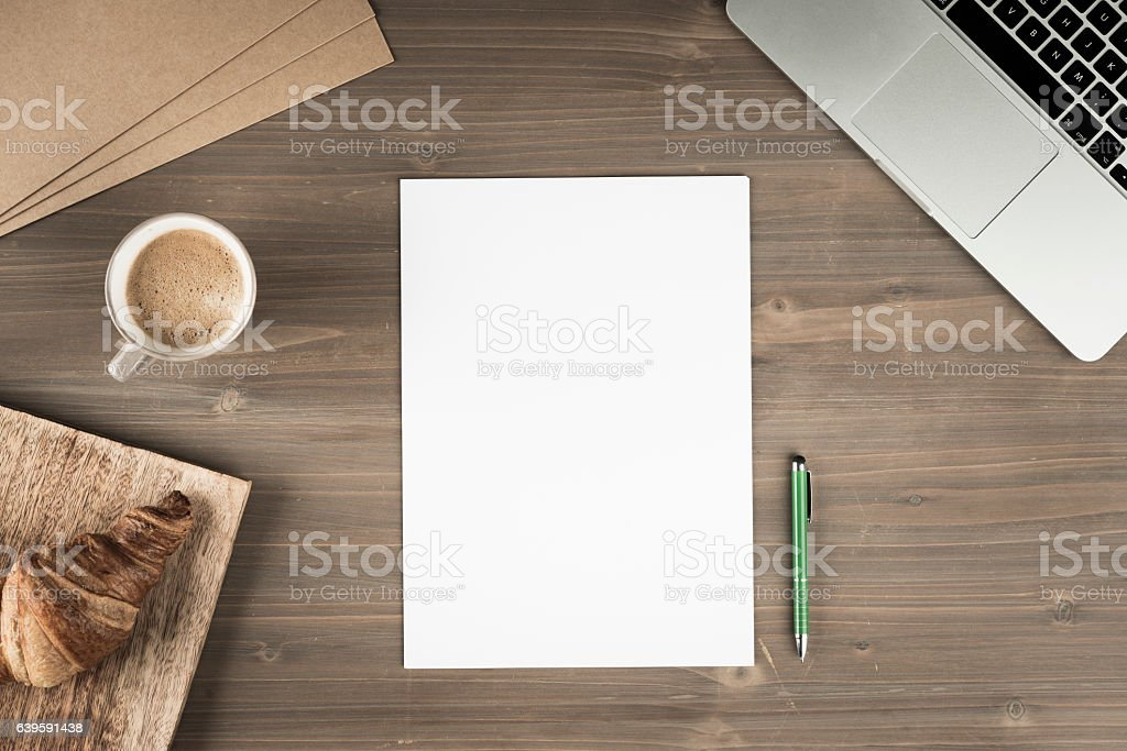 Business desk on top view stock photo