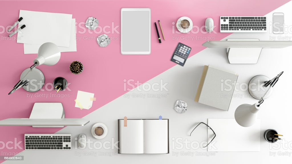 Business desk teamwork knolling stock photo