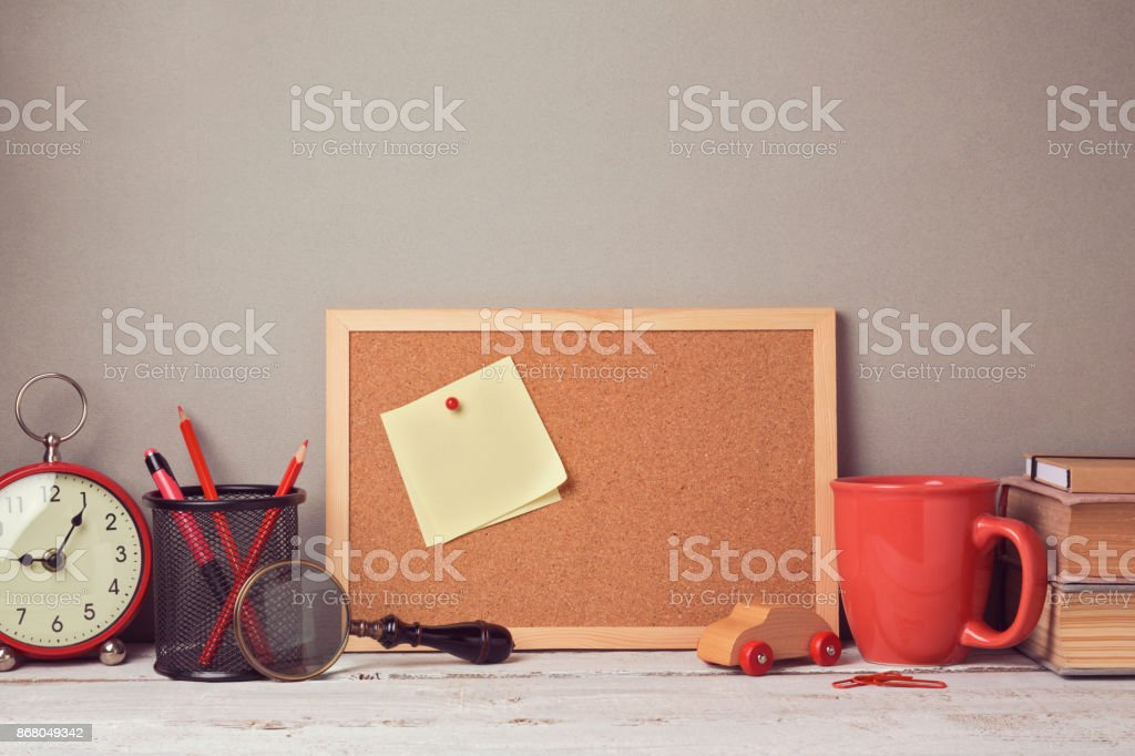 Business desk with note board website header hero image stock photo