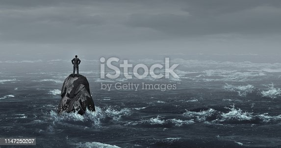 Business despair concept as a stranded businessman lost at sea standing on an isolated rock as a corporate idea for financial crisis or being lost and needing career or financial help to escape in a 3D illustration style.