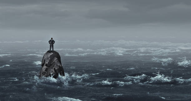 Business Despair Business despair concept as a stranded businessman lost at sea standing on an isolated rock as a corporate idea for financial crisis or being lost and needing career or financial help to escape in a 3D illustration style. trap stock pictures, royalty-free photos & images