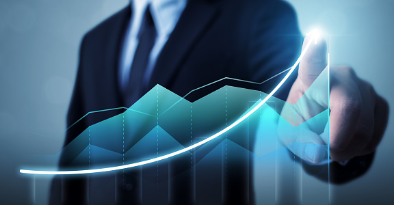 884650780 istock photo Business development to success and growing growth concept, Businessman pointing arrow graph corporate future growth plan 1097835692